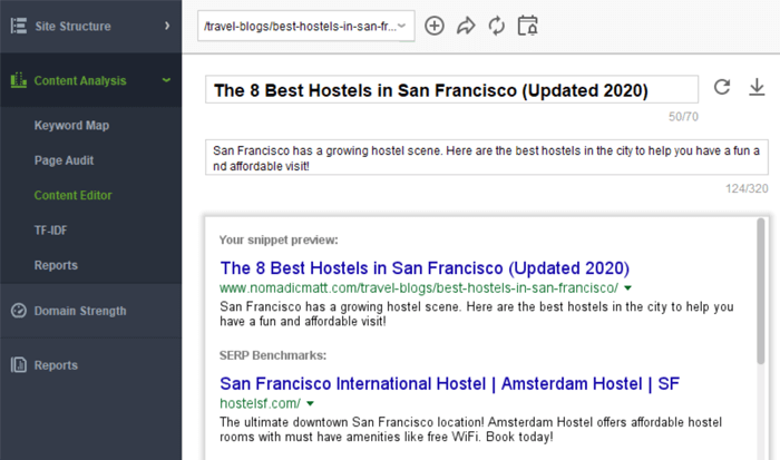 Edit your title and preview the snippet how it will appear on the SERP
