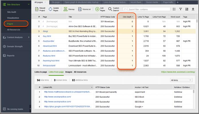 Audit click depth on internal links