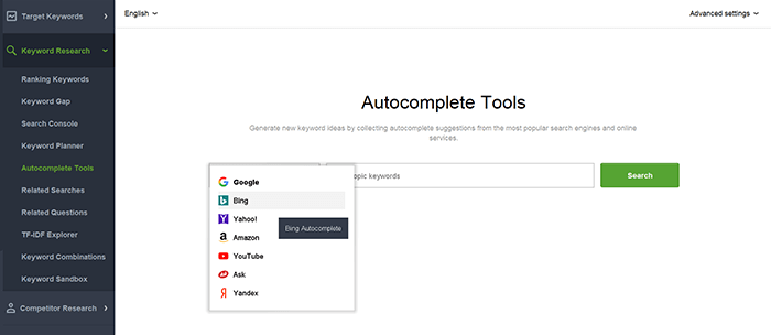 Autocomplete tools in Rank Tracker include Bing search suggestions