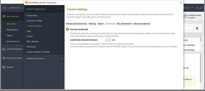 Modify SEO crawler settings