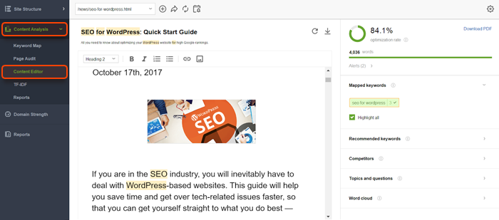 Optimize your pages in Content Editor